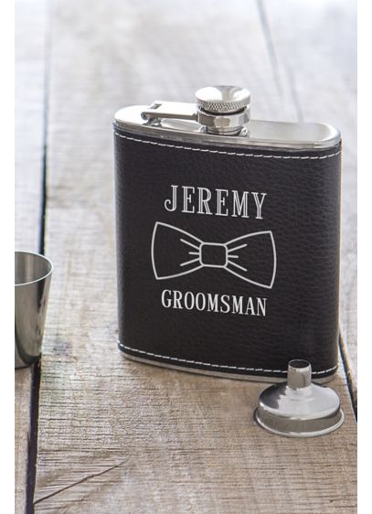 Personalized Bowtie Leather Wrapped Flask Set - Wedding Gifts & Decorations