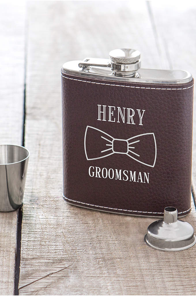 Personalized Bowtie Leather Wrapped Flask Set - Each Personalized Bowtie Leather Wrapped Flask Set includes