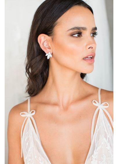Brides and Hairpins Grey (Three-Leaf Handmade Post Earrings)
