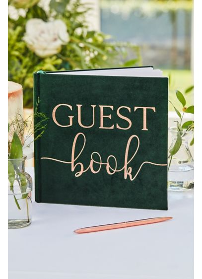 Green Velvet Bronze Foiled Wedding Guest Book - Crafted of green velvet and scripted with gold