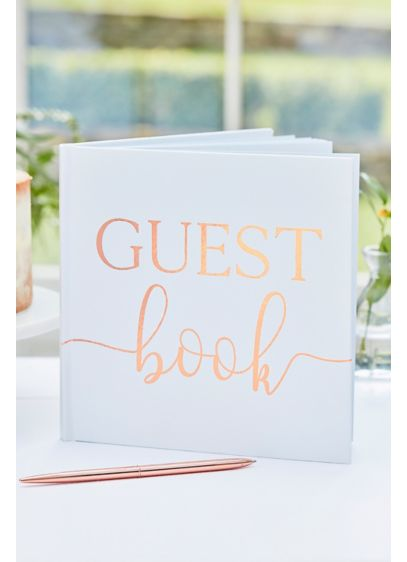 Rose Gold Foil Script Guest Book - Wedding Gifts & Decorations