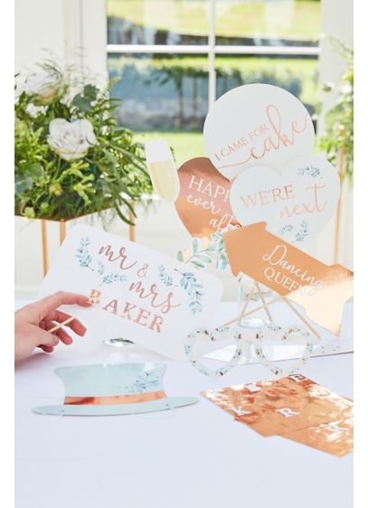 Photo Booth Props and Rose Gold Sticker Sheets - Wedding Gifts & Decorations
