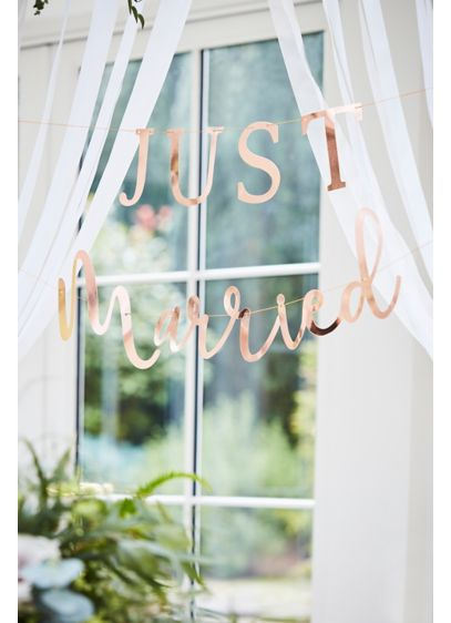 Just Married Rose Gold Banner - Scripted in rose gold, this sophisticated