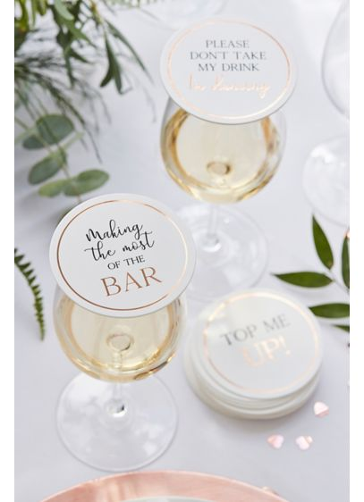 Rose Gold Coasters and Glass ToppersSet - Guests can top their drinks with these coasters