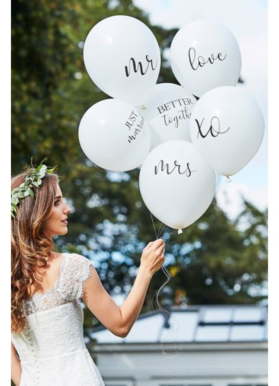 Scripted Wedding Balloon Bundle - Adorned with various wedding-themed words, this set of