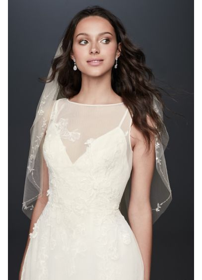 Floral Embroidered Raw-Edge Mid-Length Veil - Blooming vines delicately wind along this mid-length veil,
