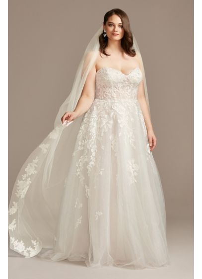 Floral Embroidered CathedralVeil with Crystals - Embroidered floral blooms, accented with brilliantly shining crystals,