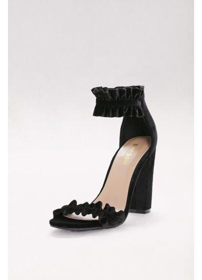 Bamboo Black (Ruffled Velvet Ankle-Strap Heels)
