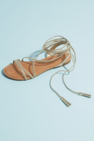 David's Bridal Yellow Flat Sandals (Metallic Lace-Up Tassel Flat Gladiator Sandals)