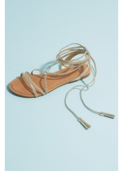 Metallic Lace-Up Tassel Flat Gladiator Sandals - Get a glam goddess look in these metallic