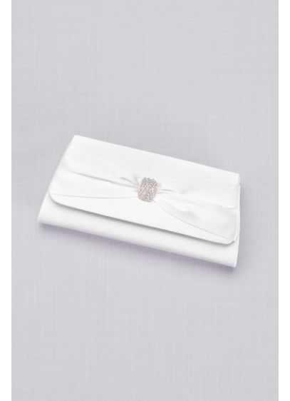 Dyeable Satin Clutch with Rhinestone Bow - A rhinestone-centered bow gives this dyeable satin clutch