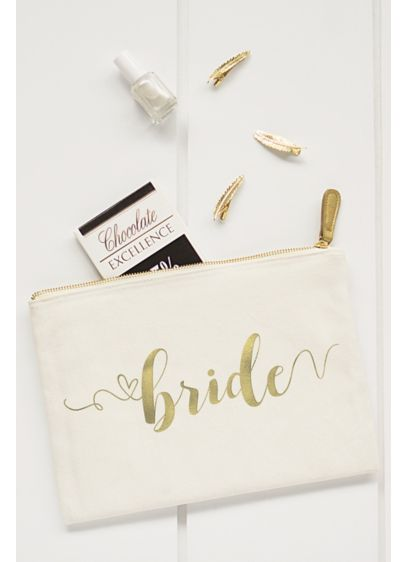 Gold Foil Bride Canvas Clutch - Wedding Gifts & Decorations