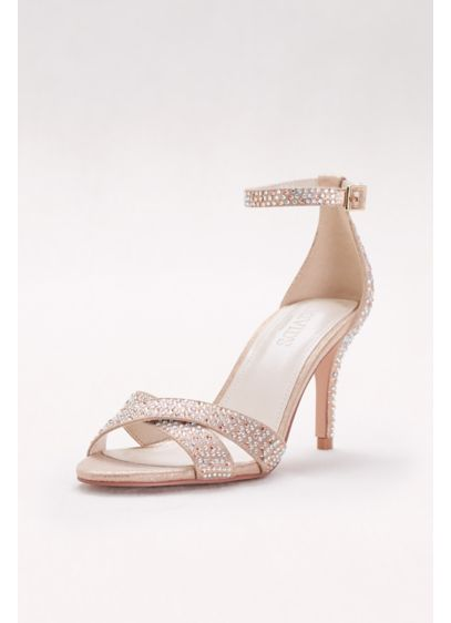 David's Bridal Pink (Crystal-Studded Crisscross Mid-Heel Sandals)