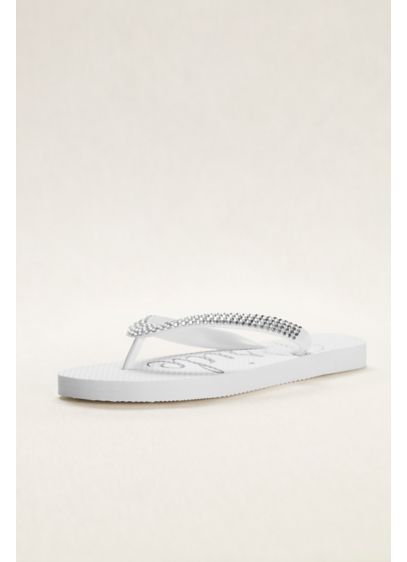 David's Bridal White (Crystal Bride Flip Flops)