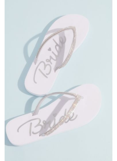 Crystal Strap Bride Flip Flops - Topped with crystal-encrusted straps and printed with the