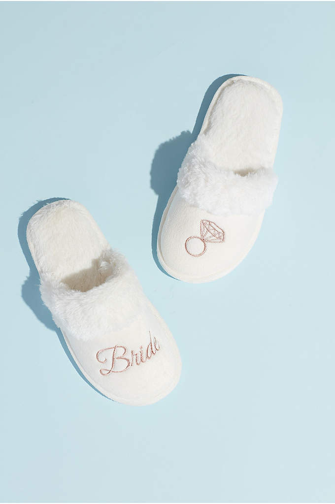 Metallic Embroidered Bride Slippers - Detailed with a faux-fur cuff, and embroidered with