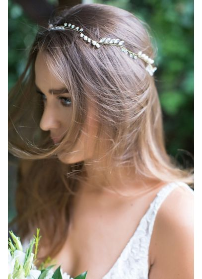 Crystal and Freshwater Pearl Halo Headband - Hand-wired crystals and freshwater pearls create a beautiful