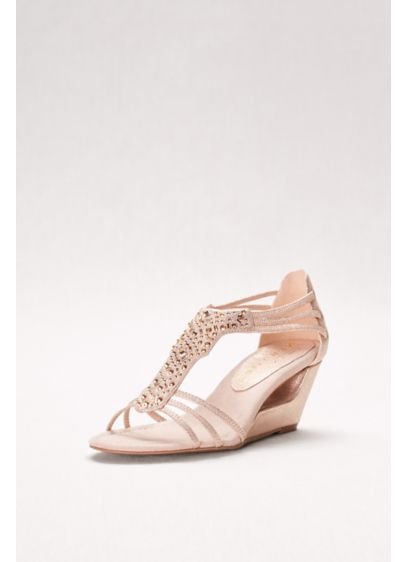 New York Transit Beige (Cutout Wedges with Crystal-Studded Vamp)