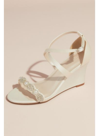 Pave Crystal and Pearl Satin Strappy Wedge Sandals - These sleek satin wedge sandals are all about