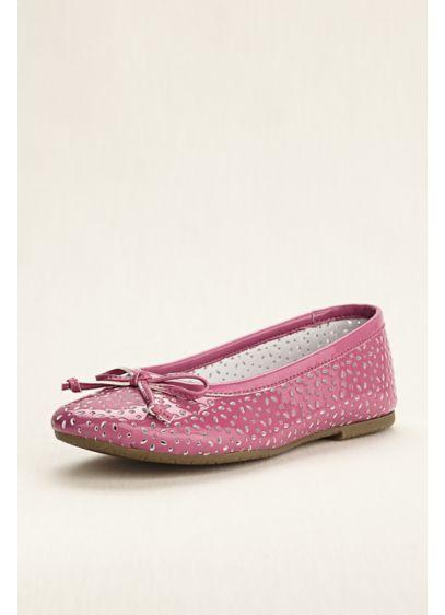 Rachel Shoes Grey (Flower Girl Patent Laser Cut Ballet Flats)