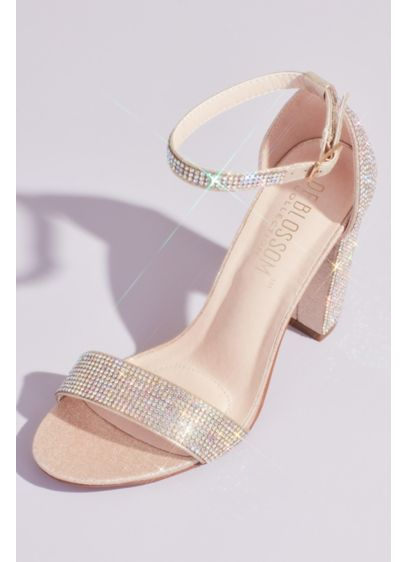 Crystal Block Heel Sandals with Shimmering Accents - Rows of sparkling crystals coat the ankle strap,