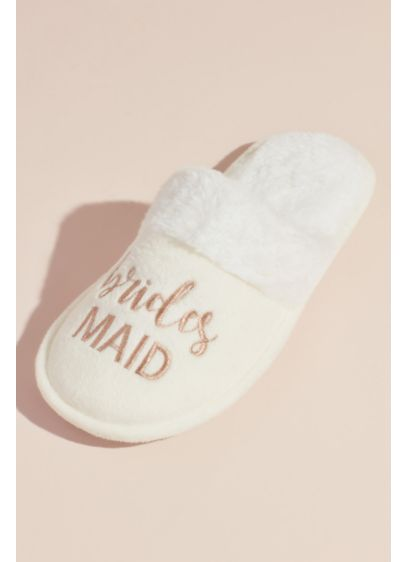 Fuzzy Bridesmaids Slide Slippers - Detailed with a faux-fur cuff and embroidered with