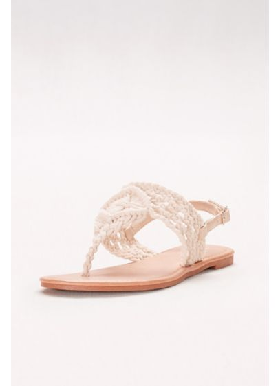 David's Bridal Ivory (Macrame-Weave Slingback Sandals)