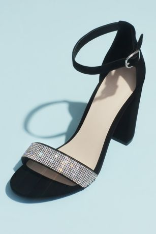 Black;Grey;Pink Heeled Sandals (Crystal-Strap Metallic Block Heel Sandals)