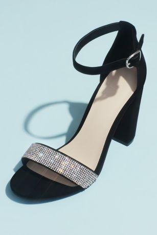 David's Bridal Black;Grey;Pink Heeled Sandals (Crystal-Strap Metallic Block Heel Sandals)