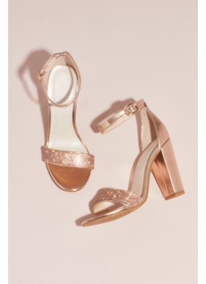 Crystal Strap Metallic Block Heel Sandals David S Bridal