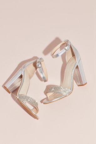509d547c8c David's Bridal Grey;Pink Heeled Sandals (Crystal-Strap Metallic Block Heel  Sandals)