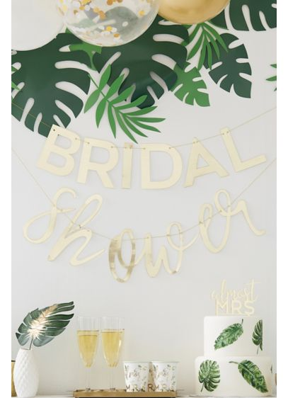 Gold Bridal Shower Banner - An ideal decoration for the sophisticated bride, this