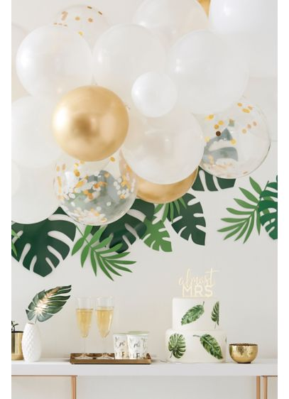 White (Metallic Balloon Arch with Faux-Eucalyptus Foliage)