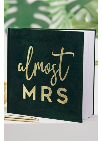 Green (Almost Mrs Gold Foil Velvet Guest Book)