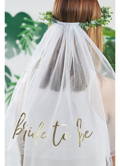 White (Faux Eucalyptus Bride To Be Veil)