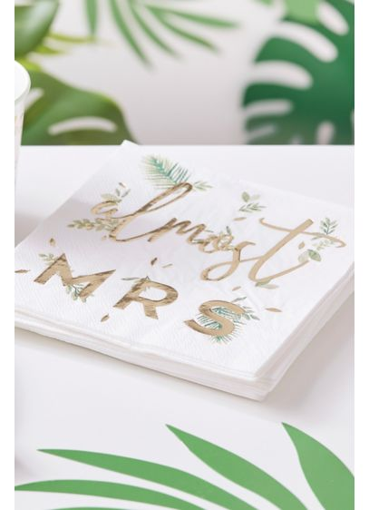 Gold Foil Almost Mrs Paper Napkin Set - The phrase