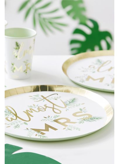 Almost Mrs Gold Foil Botanical Plate Set - Adorned with gold foil and a charming botanical