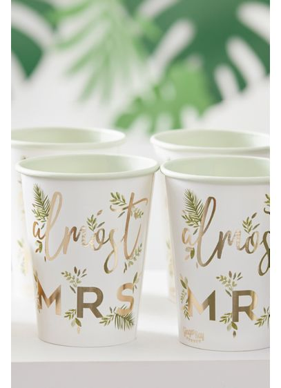 Almost Mrs Gold Foil Botanical Cup Set - Adorned with gold foil and a charming botanical
