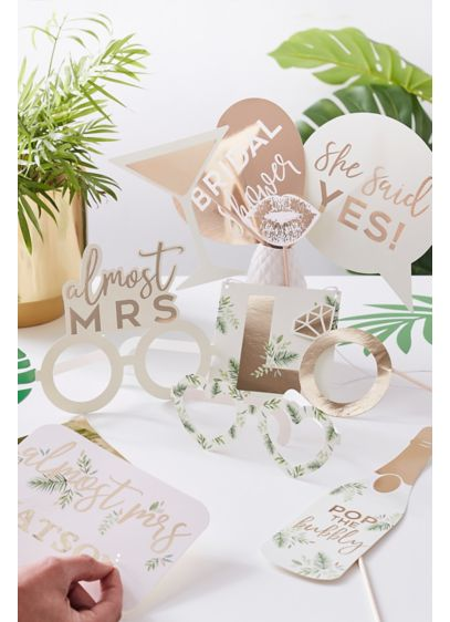 Gold Foil Customizable Photo Booth Prop Set - Accented with gold foil, this set of ten