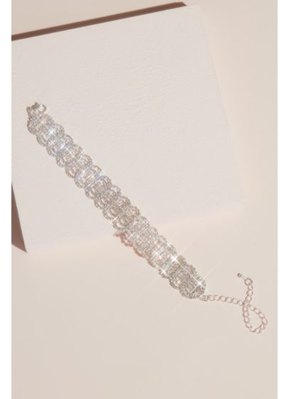 Pave Crystal Scalloped Concentric Circle Bracelet - Featuring a flattering scalloped edge and delicate strands