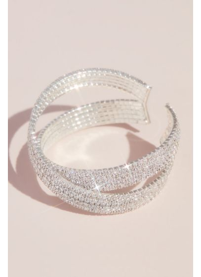 Pave Rhinestone Crossing Cuff Bracelet - Wedding Accessories