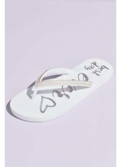White (Best Day Ever Rhinestone Trim Flip Flops)