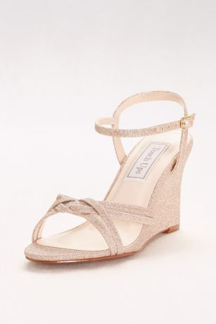Touch Ups Grey;Ivory (Woven-Strap Glitter Wedges)