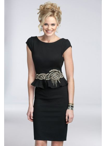 Short Peplum Scuba Dress with Braided Bead Waist - Crafted of ultra-flattering and on-trend scuba knit, this