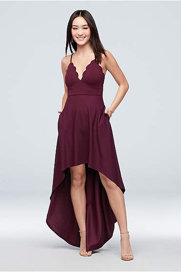 Scalloped Crepe High-Low Spaghetti Strap Dress