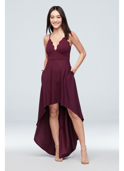 Scalloped Crepe High-Low Spaghetti Strap Dress - A pretty scalloped neckline adds elegance to this