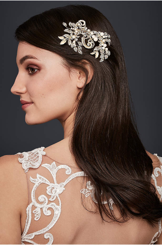 Pearl and Crystal Scroll Hair Clip - Featuring sweeping filigree encrusted with crystals and dotted