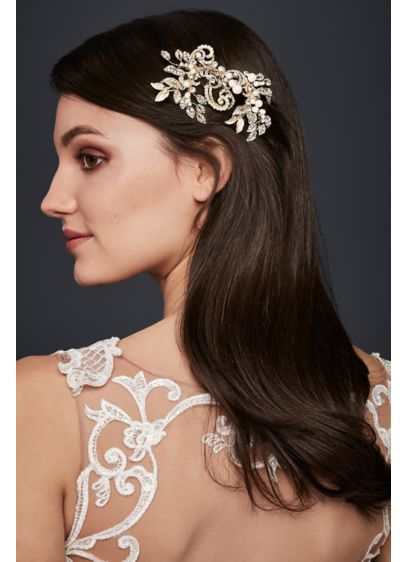 David's Bridal Grey (Pearl and Crystal Scroll Hair Clip)