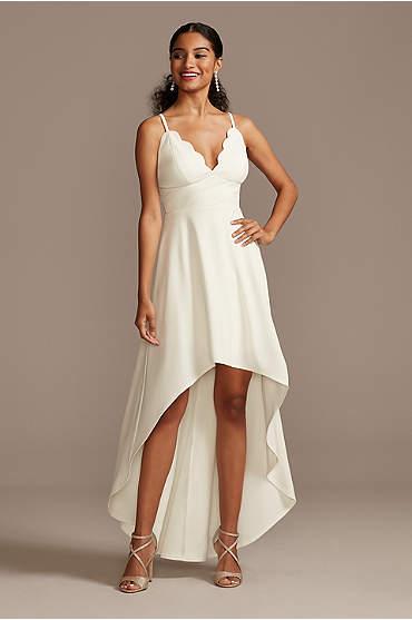 Scalloped V-Neck Dress with High Low Hem