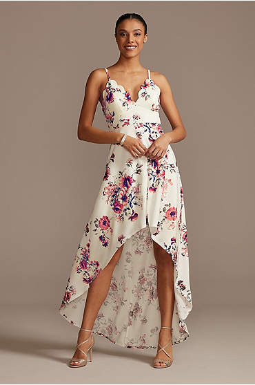 Scalloped Spaghetti Strap High Low Floral Dress